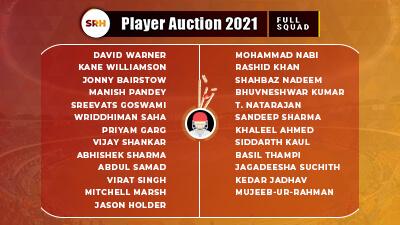 SRH IPL 2021 Squads: Complete list of Sunrisers Hyderabad Players