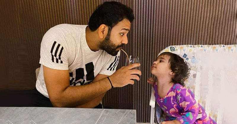 Rohit Sharma and his little Munchkin is much adorable
